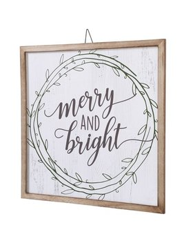 Belham Living Hanging Decor, White With Merry And Bright Text by Belham Living