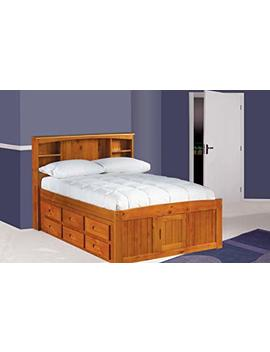 Discovery World Furniture Full Captains Bed Bookcase With 6 Drawers, Desk, Hutch, Chair And Entertainment Dresser In Honey Finish by Discovery World Furniture