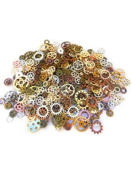 100 Pcs Steampunk Gears Antique Assorted Mixed Color Vintage Jewelry Scrapbooking Charms Wheel Cog Diy Art Random Shapes And Sizes Made by Etsy