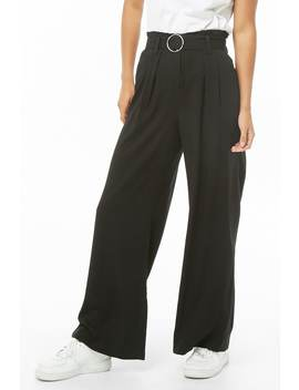 Belted Wide Leg Paperbag Pants by Forever 21