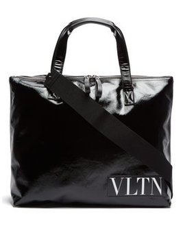 Logo Shiny Canvas Holdall by Valentino