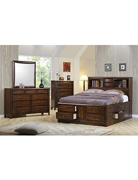 Hillary Queen Bookcase Bed With Underbed Storage Drawers Warm Brown by Coaster Home Furnishings