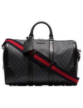 Black Logo Print Leather Trim Canvas Duffle Bag by Gucci