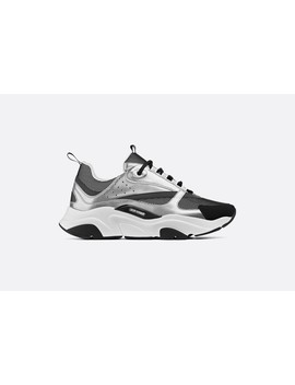 """""""B22"""" Sneaker In Reflective Technical Knit, Mesh And Silver Tone And Black Calfskin by Dior"""