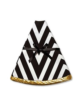 C.R. Gibson Festive Christmas Tree Skirt, 48 Inch, Star Stripe, Black White & Gold by C.R. Gibson