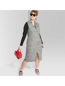 Women's Plus Size Sleeveless Zip Front Knit Midi Dress   Wild Fable™ Black/White by Wild Fable