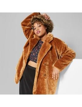 Women's Plus Size Faux Fur Button Front Pea Coat   Wild Fable™ Camel by Wild Fable