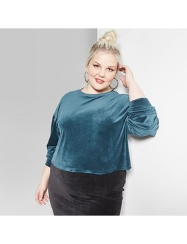 Women's Plus Size Long Sleeve Boxy Velour Crew Neck T Shirt   Wild Fable™ Green by Wild Fable