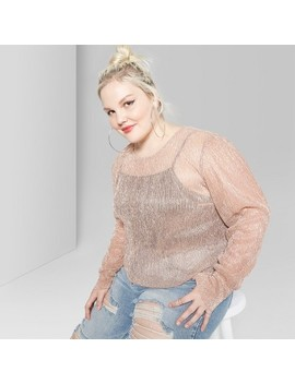 Women's Plus Size Puff Long Sleeve Plisse Blouses   Wild Fable™ Blush by Wild Fable