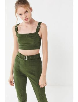Uo Kolby Corduroy Buckle Strap Cropped Top by Urban Outfitters