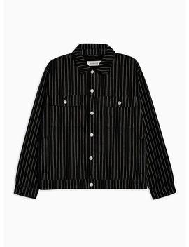 Black Pinstripe Denim Jacket by Topman