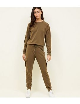 Khaki Jersey Utility Cuffed Joggers by New Look