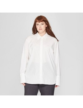 Women's Plus Size Long Sleeve Button Down Collared Shirt   Prologue™ White by Prologue