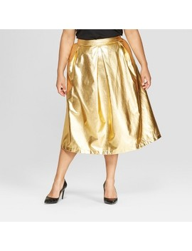 Women's Plus Size Birdcage Midi Skirt   Who What Wear™ Gold by Who What Wear