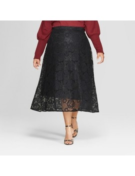 Women's Plus Size Full Lace Maxi Skirt   Who What Wear™ Black by Who What Wear