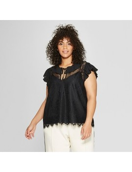 Women's Plus Size Short Sleeve Soft Ruffle Lace Shell   Who What Wear™ Black by Who What Wear