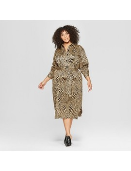 Women's Plus Size Leopard Print Self Tie Midi Shirt Dress   Who What Wear™ Yellow by Who What Wear