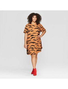 Women's Plus Size Tiger Print Short Sleeve A Line Mini Dress   Who What Wear™ Yellow by Who What Wear