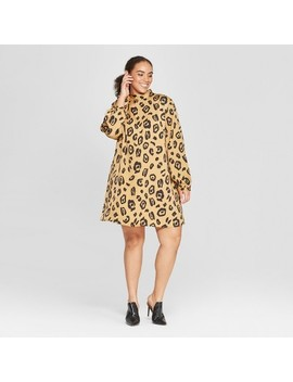 Women's Plus Size Leopard Print Long Sleeve Tie Shift Mini Dress   Who What Wear™ Brown by Who What Wear