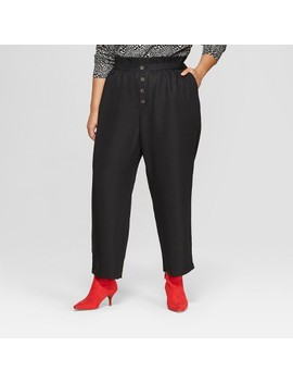 Women's Plus Size Relaxed Button Front Ankle Trouser   Who What Wear™ by Who What Wear