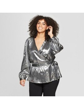 Women's Plus Size Long Sleeve Metallic Wrap Blouse   Who What Wear™ Silver by Who What Wear