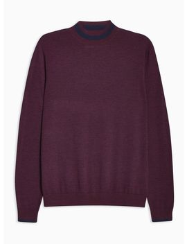 Burgundy Merino Tipped Turtle Neck Sweater by Topman