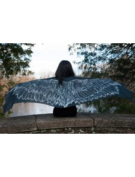 Dark Grey Wing Scarf / Shawl / Sarong Hand Painted And Digitally Printed On 100 Percents Modal Silk   Raven by Etsy