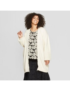 Women's Plus Size Long Faux Fur Blocked Sleeve Cardigan   Who What Wear™ by Who What Wear