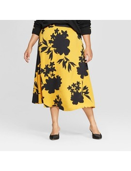 Women's Plus Size Floral Print Full Silky Maxi Skirt   Who What Wear™ by Who What Wear