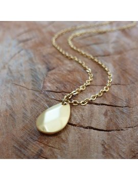 Gold Faceted Teardrop Necklace by Etsy