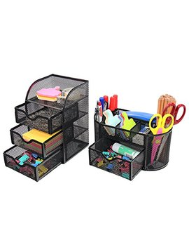 Pag Office Supplies Mesh Desk Organizer Set Pen Holder Accessories Storage Caddy With Drawer, Black by Pag
