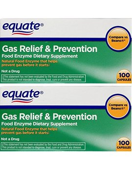 2 Pack Of Equate Gas Relief & Prevention Food Enzyme Dietary Supplement ,200ct, Compare To Beano by Equate