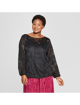 Women's Plus Size Long Sleeve Chiffon Blouse With Cami   Ava & Viv™ Black by Ava & Viv
