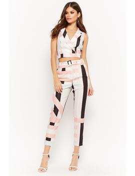 Multi Striped Crop Top & Pants Set by Forever 21