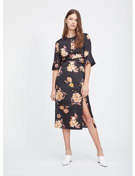 Black Floral Jacquard Twist Midi Dress by Miss Selfridge