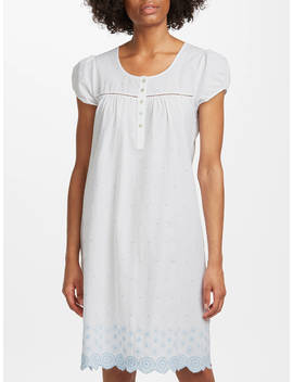 John Lewis & Partners Circle Flower Embroidered Nightdress, White/Blue by John Lewis & Partners