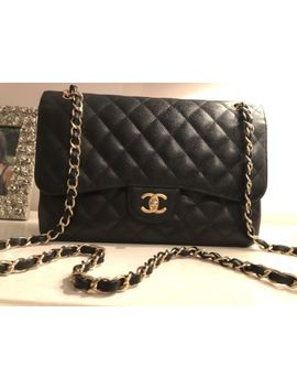 Authentic Chanel Black Caviar Classic Jumbo Flap Bag (Gold Hw) by Ebay Seller