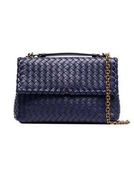 Blue Olimpia Intrecciato Leather Bag by Bottega Veneta