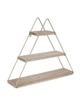 Kate And Laurel Tilde Small Three Tiered Triangle Floating Metal Wall Shelf, Rustic Light Brown/Gold by Kate And Laurel