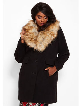 Faux Fur Collar Walker Coat by Ashley Stewart