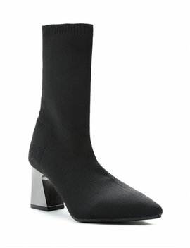 Plated Block Heel Mid Calf Boots   Black 40 by Zaful