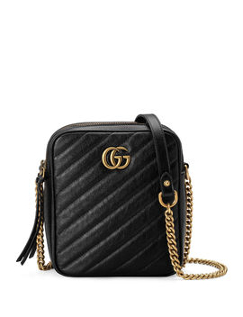 Gg Marmont Tall Chevron Leather Crossbody Bag by Gucci