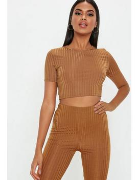 Rust Shiny Ribbed Crop T Shirt by Missguided