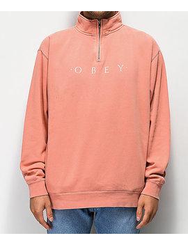 Obey Novel Dusty Rose Quarter Zip Sweatshirt by Obey