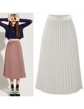 New Retro Women Sheer Double Layer Pleated Long Maxi Dress Elastic Waist Skirt by Unbranded