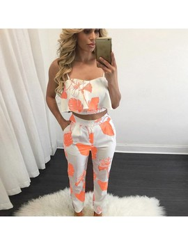 Women 2 Piece Outfits Sleeveless Floral Print Crop Top Pants Set Casual Jumpsuit by Fancyinn