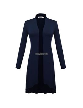 Meaneor Women Long Sleeve Open Front Solid Long Cardigan Coat S+++ by Unbranded