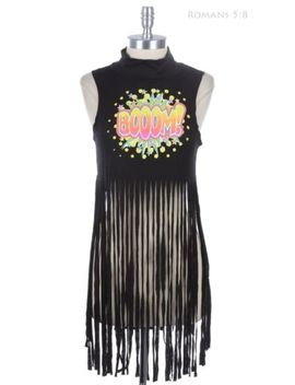 'boom' Comic Print Fringe Long Hem Mock Neck Sleeveless Crop Tank Top S M L by Olm