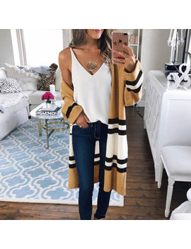 Long Jacket Coat Tops Outerwear Women Long Sleeve Knitted Cardigan Loose Sweater by Unbranded