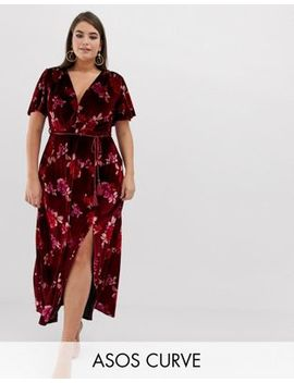 Asos Design Curve Velvet Floral Maxi Dress With Tassel Belt by Asos Design